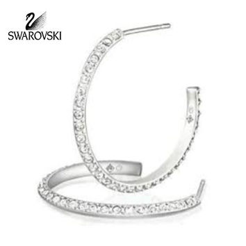 Swarovski Clear Crystal Stainless Steel Hoop Pierced Earrings 2.5cm #1180123