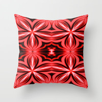 Electric Red Flower Throw Pillow by 2sweet4words