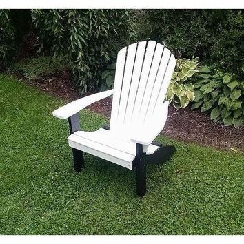 A & L Furniture Co. Amish Made Poly Fanback Adirondack Chair w/Black Frame  - Ships FREE in 5-7 Business days