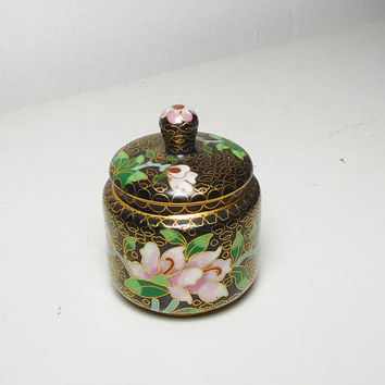 Small Cloisonne Black Gold Flowered Box with Lid Inlaid Butterfly and Flowers Vintage Jewelry Trinket Jar Enamel Stash Box Hippie Boho Decor