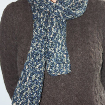 Navy Blue Knit Scarf - Blue Scarf - Blue Crochet Scarf - Multicolor Scarf - Soft Scarf - Warm Winter Accessories
