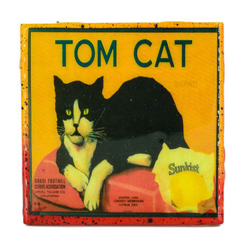 Handmade Coaster Tom Cat Brand - Vintage Citrus Crate Label - Handmade Recycled Tile Coaster