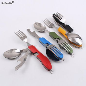 Keythemelife Camping Folding Tableware 3 in 1 Knife/ Forks/Spo ons Combination Multifunction Knife Dinnerware Sets B0