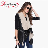 2016 New Autumn Women Leisure Suede Vest  Faux Fur Turn-down Collar Warm Sleeveless Fleece Leather Long Waistcoat Coat Outerwear