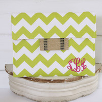 Apple Green Chevron Monogrammed iPad Case, Tablet Sleeve, Kindle Case, Laptop Cover or Macbook Case