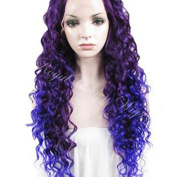26 inch Curly Royal Purple Root to Blue/Purple Ombre Lace Front Synthetic Wig