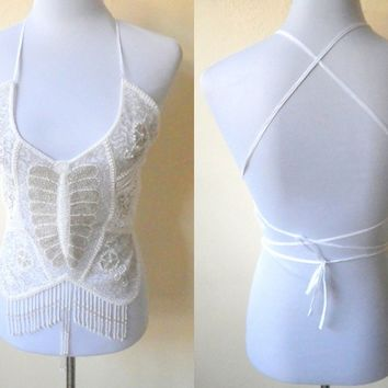 white beaded belly dance backless top (small to medium)