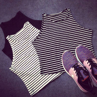 Striped 3Colors New Women Tight Bustier Crop Top Skinny T-Shirt Belly Sports Dance Tops Woman's Cropped Top Short Vest Tank Tops