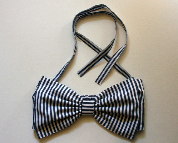 Navy Striped Bow Bandeau by amourouse on Etsy