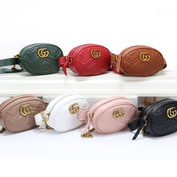 """Gucci"" Classic Retro Fashion Multicolor Print Messenger Bag Women Small Square Bag Belt Bag"
