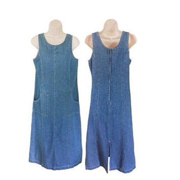 Petite Dress Women 90s Denim Dress With Pockets 90s Grunge Dress Long Denim Dress Chambray Dress 90s Grunge Clothing Women Overall Dress