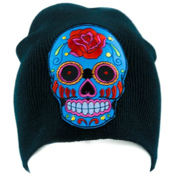 Day of the Dead Blue Sugar Skull Beanie Knit Cap Alternative Clothing Halloween