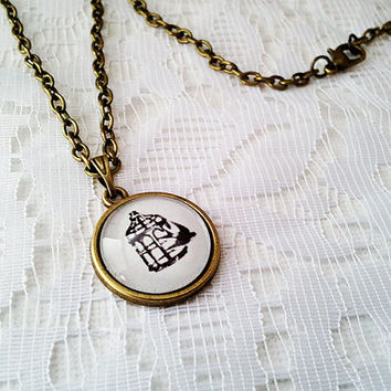 Bioshock Infinite Necklace, Bioshock The Bird and The Cage, Gaming Jewelry, Video Games, Bioshock Pendant, Elizabeth, Geeky Jewelry, White