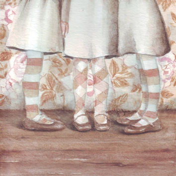 HM066 Original watercolor painting of 3 Sisters art by Helga McLeod