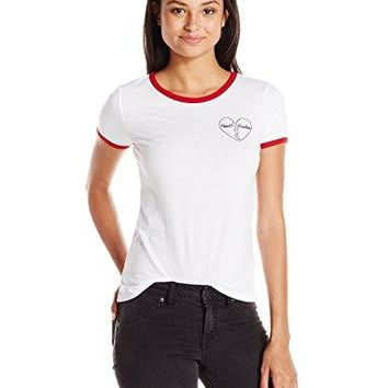 Derek Heart Womens Ringer Tee With Chest Embroidery and Screened Stripe