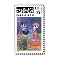 Catrin and Catrina  Day of the Dead Bride & Groom Stamp from Zazzle.com