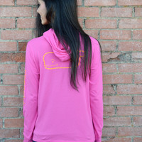 Vineyard Vines Long Sleeve Printed Whale Hoodie Tee- Pink