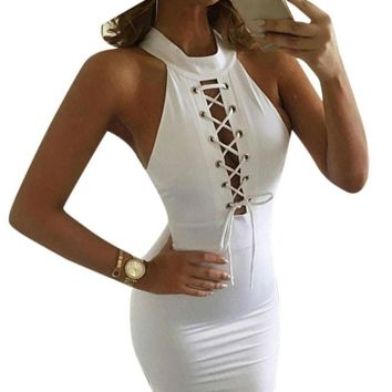 Women Sexy Bandage Dress Turtleneck Bodycon Sleeveless Cocktail Midi Length Celebrity Club Party Pencil White Dress