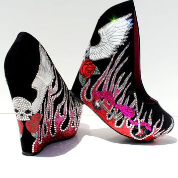 Biker Flame Crystal Wedges with Skulls