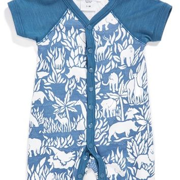 Infant Boy's Jaxxwear Raglan Sleeve Pima Cotton Romper
