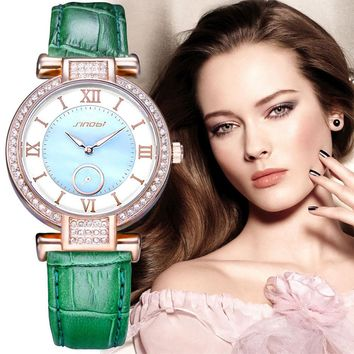 SINOBI Fashion Ladies Wrist Watches Leather Watchband Brand Womens Quartz Clock of Diamond Female Wristwatch Montres Femmes 2017