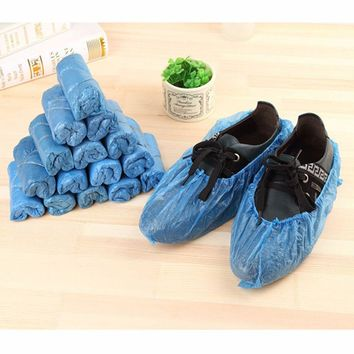 gootrades 100Pcs/pack Medical Waterproof Boot Covers Plastic Disposable Shoe Covers Overshoes Rain Shoe Covers Mud-proof Blue