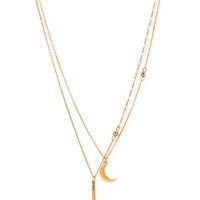 FOREVER 21 Moon & Bar Layered Necklace Gold One