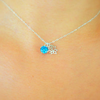 Swiss Blue CZ - Floating Diamond Necklace - Floating Lotus Necklace - Dainty - Sterling Silver Necklace - Floating Cubic Zirconia Necklace