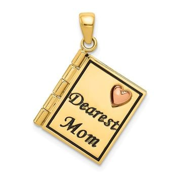 14k Yellow and White Gold Two-tone Dearest Mom Book Pendant Length 26mm