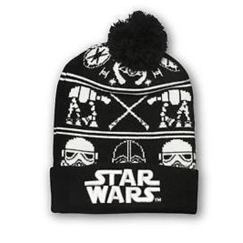 Star Wars Galactic Empire Fair Isle Adult Slouchy Winter Cuff Beanie - Black