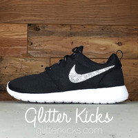 Nike Roshe One Customized by Glitter Kicks - BLACK/WHITE/METALLIC PLATINUM