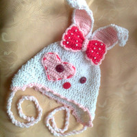 Crocheted rabbit bunny hat with big bow  for baby