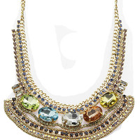 NECKLACE / COLOR HOMAICA STONE / LAYERED CHAIN BIB / OVAL CUT / PAVE CRYSTAL STONE / METAL / LINK / 16 INCH LONG / 1 3/4 INCH DROP / NICKEL AND LEAD COMPLIANT