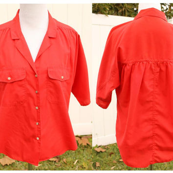 Vintage 70s Red Blouse Camp Shirt by Amy Barr// Pinup Rockabilly