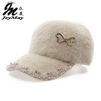 Free shipping fashion winter hat candy solid color rabbit fur baseball cap bowknot lace Women's Autumn and Winter cap W008