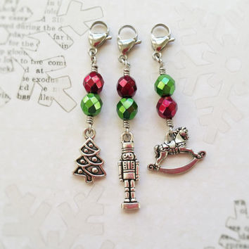 Christmas Gift Wrapping Ideas, Set of 3 Christmas Charms, Purse Charm, Christmas Tree, Rocking Horse, Nutcracker Charm, Beaded Zipper Pulls