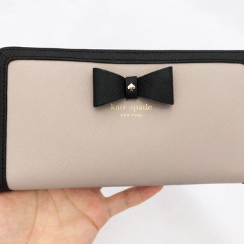 Kate Spade Hazel Court Lacey Zip Around Wallet Black Bow Mousfrog