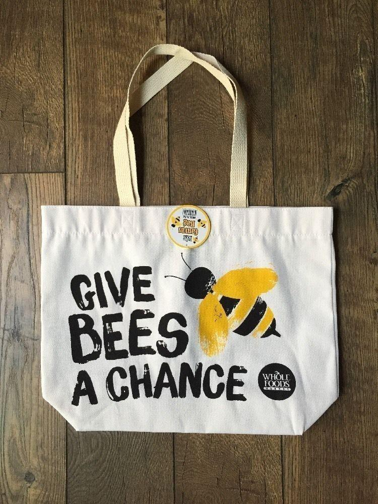 Whole Foods Give Bees A Chance Canvas Grocery Ping Bag Made In Usa Nwt
