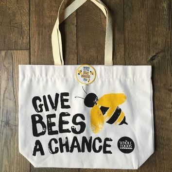 Whole Foods Give Bees a Chance Canvas Grocery Shopping Bag * Made in USA * NWT