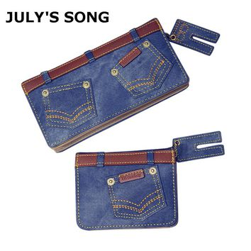 2017 JULY'S SONG New Fashion Women Denim Wallet Cards Holder Female Clutch Coin Bag Long Shot Jeans Pattern Purse