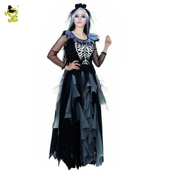 Corpse Bride Sexy Dress Cosplay (Black/Gray)