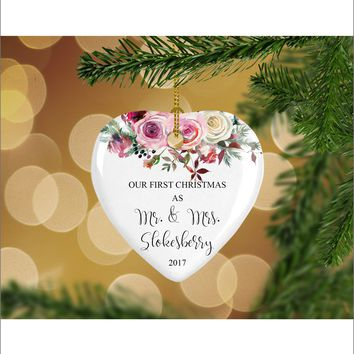 Personalized Floral Our First Christmas as Mr. & Mrs. Christmas Ornament- Wedding Ornament - Christmas Gift Ideas - HO0006