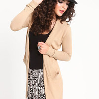 LONG RIBBED KNIT FLYAWAY CARDIGAN
