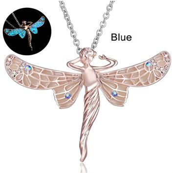 Glow In The Dark Dragonfly Fairy Pendant Necklace