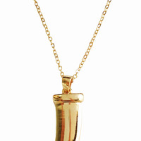 Gold Tusk Pendant Necklace