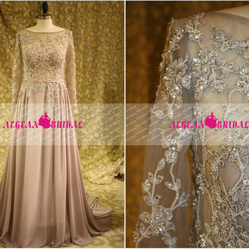 RE198 Sexy Sheer Lace Long Sleeve Evening dress 2014 Beaded wedding party dress Long Sequins Mermaid Plus Size Silk Chiffon Evening Dress