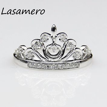 LASAMERO Ring For Women 0.16 ct 14k White Gold Crown ring Certified Natural Diamond Ring Accents Engagement Wedding Ring