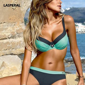 LASPERAL Women Bikinis Set Sexy Retro Swimwear Two Piece Swimsuit Push Up Plus Size S-2XL Brazilian Bikinis Bra+Underwear Set