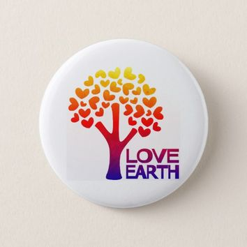 Love Earth Heart Tree Button