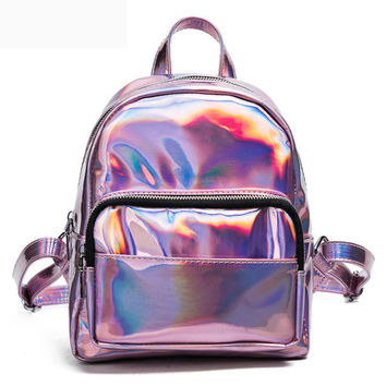 2017 New women hologram backpack laser daypacks girl school bag female silver pu leather holographic bags big medium small size